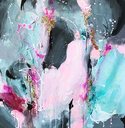 Pink, blue and charcoal Abstract painting by artist Melissa La Bozzetta