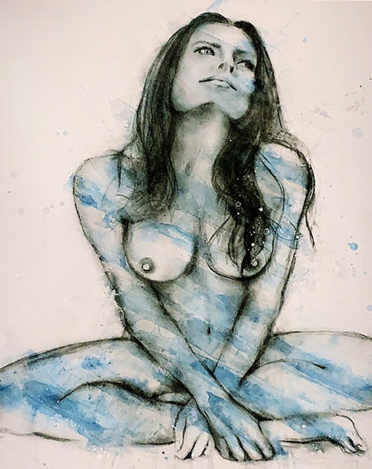 Charcoal & Water colour by artist-Melissa-Labozetta 'Muses'